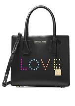 Michael Kors Mercer Medium Messenger Love Leather bag purse BLACK NWT - $3.058,94 MXN