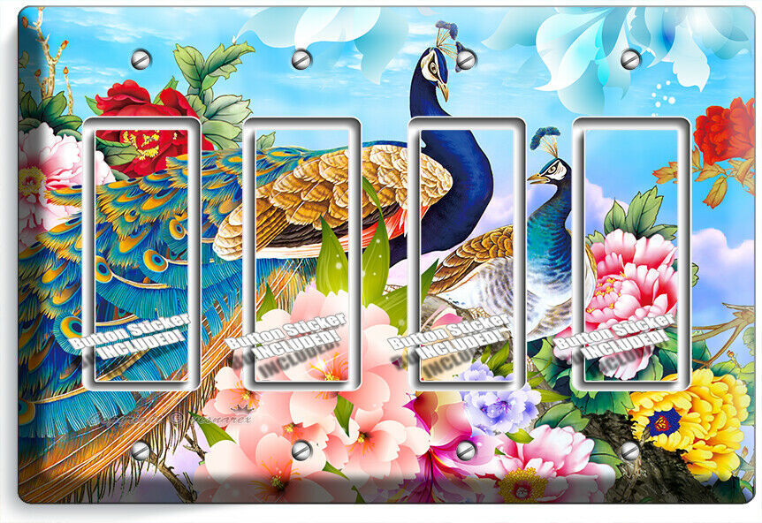 FLORAL PEACOCK BIRDS COLORFUL FEATHERS 4 GFCI LIGHT SWITCH WALL PLATE ROOM DECOR