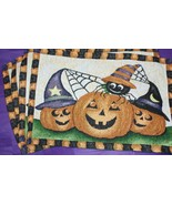 Halloween Tapestry Placemat set 4 Smiling Pumpkins 13x19 home decor gift... - $21.77