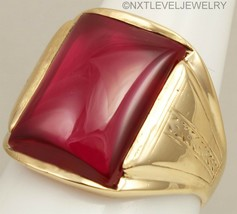 Antique/Vintage 1920's Art Deco Ruby Cabochon Engraved 10k Solid Gold Me... - €435,95 EUR