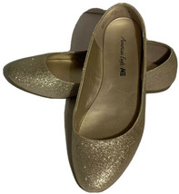 American Eagle Women's Size 8 Gold Sparkle Glitter Slip On Ballet Flats Shoe - $14.99