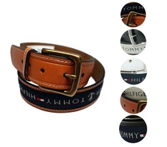 Tommy Hilfiger Men's Premium Ribbon Inlay Anchor Logo Leather Belt 11TL02X032