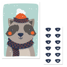 Winter Raccoon Pin The Nose Christmas Party Game - $21.29