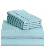 "LuxClub 6 PC Sheet Set Bamboo Sheets Deep Pockets 18"" Aqua Queen Wrinkle... - $54.44"