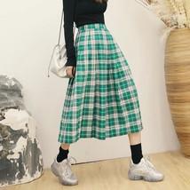 Plus Size GREEN Plaid Skirt Women Girl Long Pleated Skirt Full Green Plaid Skirt image 1
