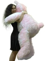 5 Foot American Made Giant Pink Teddy Bear 60 Inches Soft Made in USA Br... - $127.11