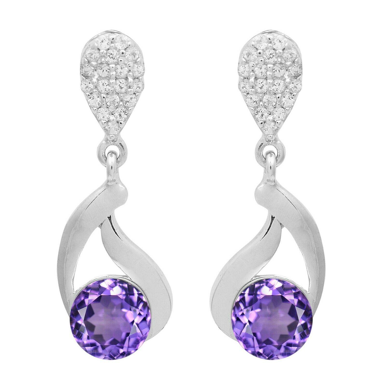 6.35 MM Amethyst White Topaz 925 Sterling Silver Dangle Hollow Wedding Earring