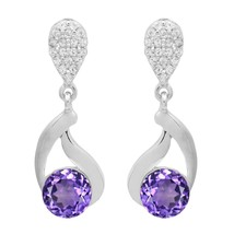 6.35 MM Amethyst White Topaz 925 Sterling Silver Dangle Hollow Wedding E... - $15.77