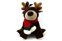 Commonwealth Christmas Reindeer Plush 1999 Size Scarf Holly 15x12 Holiday - $19.79