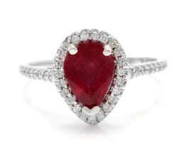 1.80 Carats Red Ruby and Natural Diamond 14K Solid Yellow Gold Ring - $811.80