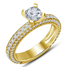 Pure 925 Sterling Silver Yellow Gold Plated Round Cut Diamond Engagement... - £67.71 GBP