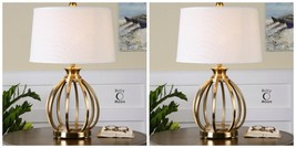 """PAIR MODERN 28"""" PLATED BRUSHED BRASS METAL CAGE STYLE TABLE LAMPS - $655.60"""