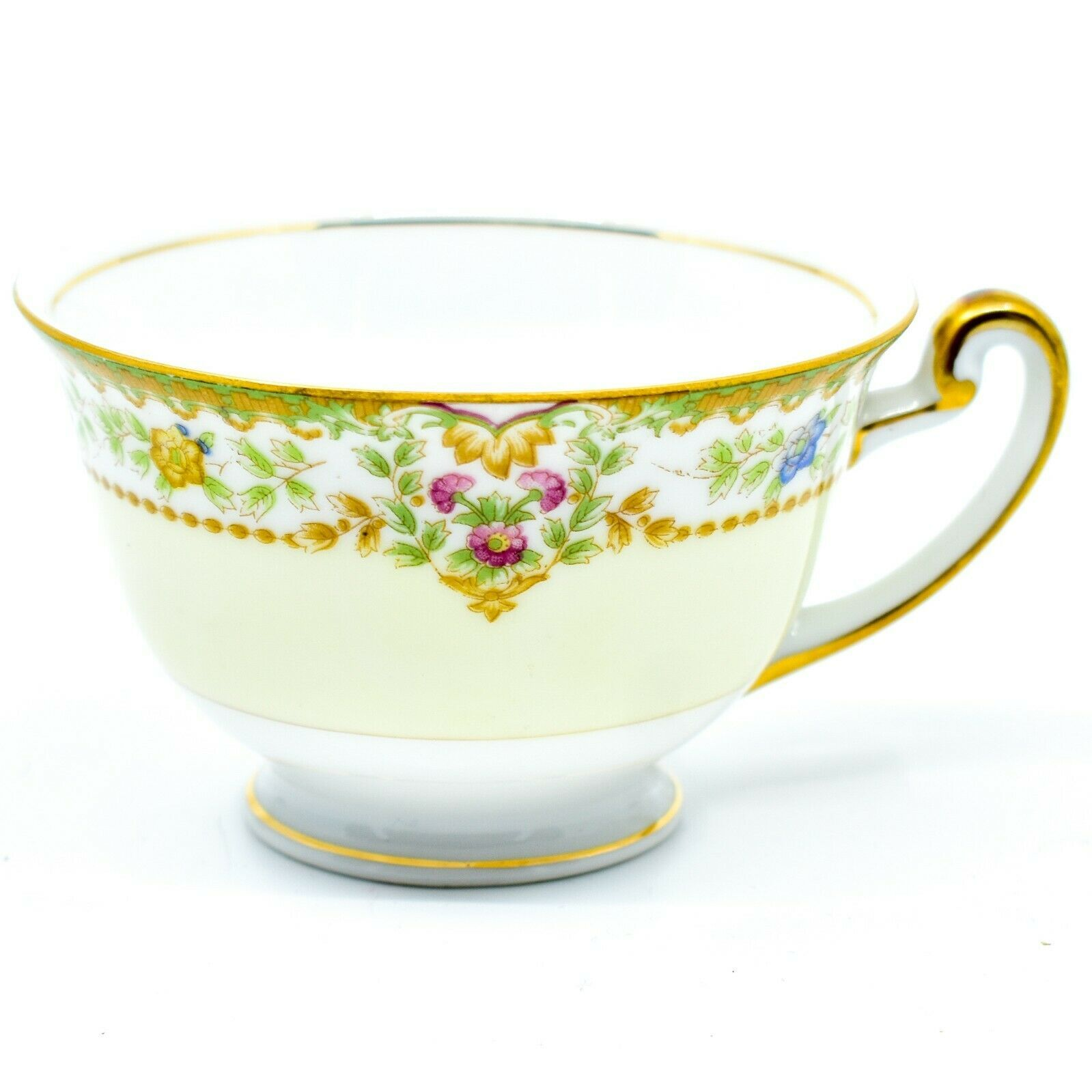 Meito China Blue Yellow & Pink Flower Gold Accent Teacup Tea Cup