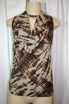 New Ann Taylor Petite XS Beige Brown Print Solid Back Cowl Sleeveless Top PXS - $14.24