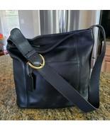 Black Leather Bucket Style Coach Shoulder Handbag W/Adj Strap F7C-4169 - $48.99