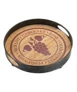 "*18371B  Vineyard Wine Metal Serving Tray 13"" Diameter - $25.95"