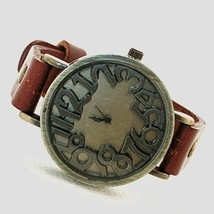 Vintage Inspired Bronze Case 3-D Style Dial Red Leather Band Women's Watch - $19.25
