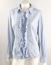 Tommy Hilfiger Top Size XL Light Blue Button Up Ruffle Front Cotton Shir... - $12.67