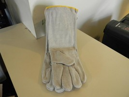 Long Cuff 18 Inch Leather Work Gloves Lined - Size Large - $15.47