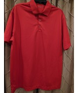 Nike Golf Mens Red Dri-Fit 100% Polyester Short Sleeve Polo Shirt Size L - $13.83