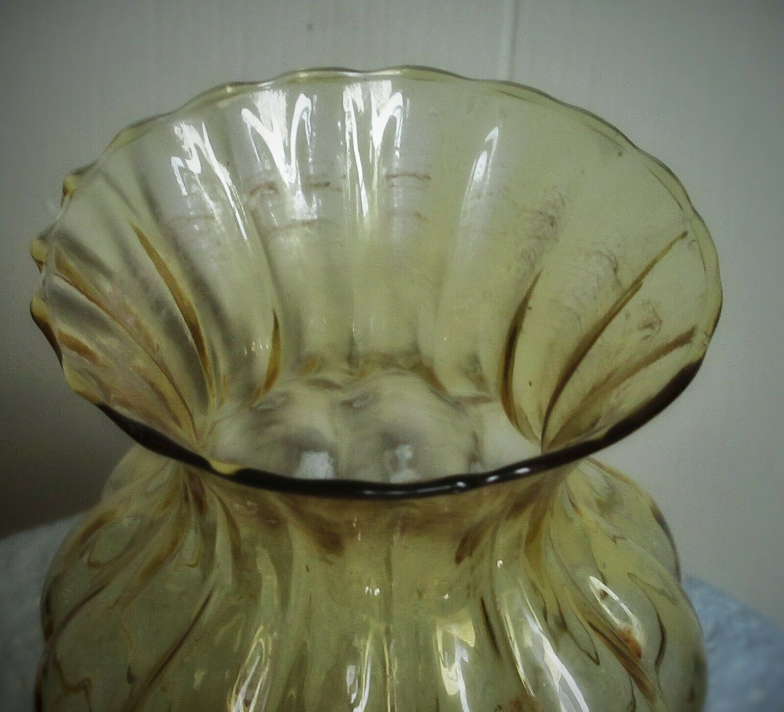 Amber Vase Carnival Glass Diamond Quilted Pattern aka Honeycomb