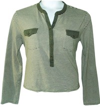 Relativity   Size XL     Soft Knit Olive Stripes Casual Top - $8.59