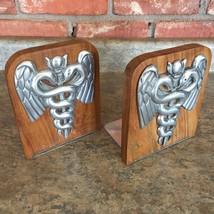 Vintage Caduceus Book Ends Wood Aluminum Pewter Doctor Medical Nurse Gra... - $56.41
