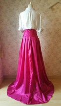 Women High Waist Pleated Evening Skirt Floor Length Maxi Formal Skirts- Fuchsia image 2
