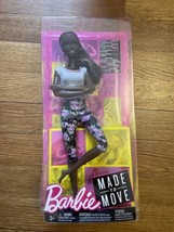 BARBIE MADE TO MOVE AFRICAN AMERICAN DOLL FLORAL PANTS GREY TOP Imperfec... - $31.68