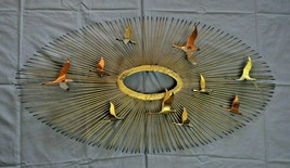 Curtis Jere Style MCM Brutalist Over The Sun 10 Geese Flying Metal Wall ... - $675.00