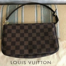 Louis Vuitton Accessory Pouch Mini Bag Case Damier Check Rare Leather Ge... - $660.00