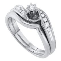 10kt White Gold Round Diamond Bridal Wedding Engagement Ring Band Set 1/4 Ctw - $459.00