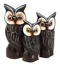 BALIKRAFT Hand Made Wood Artisans Burung Hantu Brown Forest Owl Family S... - $19.79