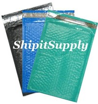 3-600 #000 4x8 ( Black Blue & Teal ) Combo Poly Color Bubble Padded Mailers - $3.46+