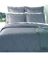 Sferra Avellina King Sham Ice Blue Lattice Egyptian Cotton Sateen Jacqua... - $58.90