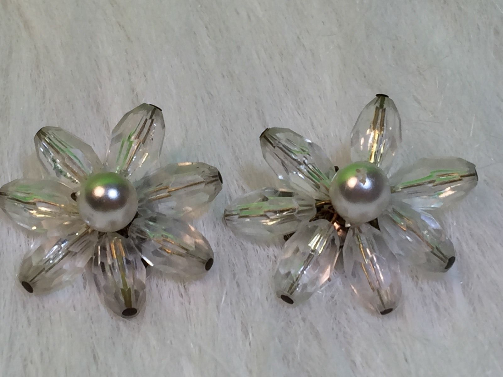 Primary image for Vintage Clear Beaded Flower Shape Collectible Clip On Earrings West Germany