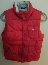 Gap Kids darker red & grayZip Front Quilted Pocket. Puffer Vest Boys M, ... - $14.87