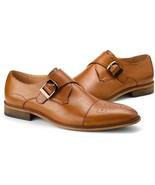 Men's Handmade Tan Cap Toe Brogue Shoes, Men's Monk Strap Shoes - $144.99+