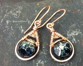 Handmade copper earrings: teardrop framed wire wrapped black faceted bri... - $25.00