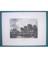 ENGLAND Shipmeadow Lock On Waveney River - 1887 Steel Engraving - $11.10