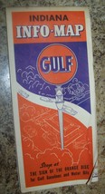 c1940 VINTAGE GULF OIL ADVERTISING INFO ROAD MAP INDIANA - $9.89