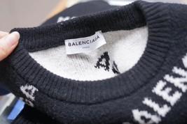 100% AUTHENTIC JACQUERED KNIT BALENCIAGA PARIS BLACK LOGO SWEATER SZ 40 image 8