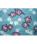 Vintage Rayon Screen-Printed Fabric Swatch Sample 1940S 89 Blue - $21.84