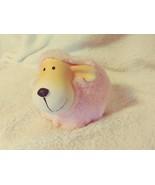 Fuzzy Ceramic shelf sitter farm animal pink - $12.99