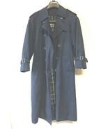 Vintage London Fog Rain Coat Belted Double Chest Overcoat Navy Blue Plai... - $74.25