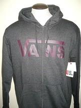Vans Shoes Mens Classic Zipper hoodie Sweatshirt Dark Grey Purple NWT Fr... - $44.99