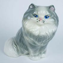 LARGE VINTAGE CERAMIC GRAY BLUE EYED PERSIAN CAT PLANTER FIGURINE FIGURE... - $8.21
