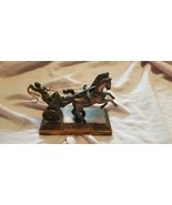 VINTAGE GLADIATOR ROMAN WARRIOR WITH CHARIOT AND HORSES COPPER METAL - $200.00