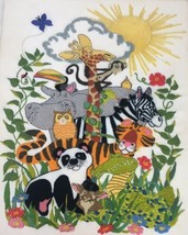 Finished Crewel Embroidery Dimensions Animal Kingdom Jungle Animals Comp... - $93.46