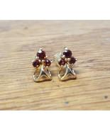 Garnet 18k Yellow Gold Cluster Style Earrings  - $184.30
